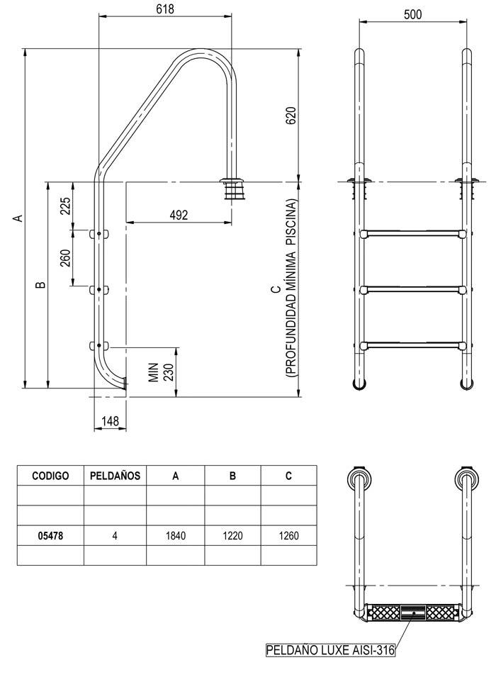 Abmessungen 4-Stufen-Leiter