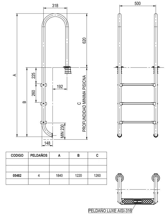 Abmessungen der Einbauleiter