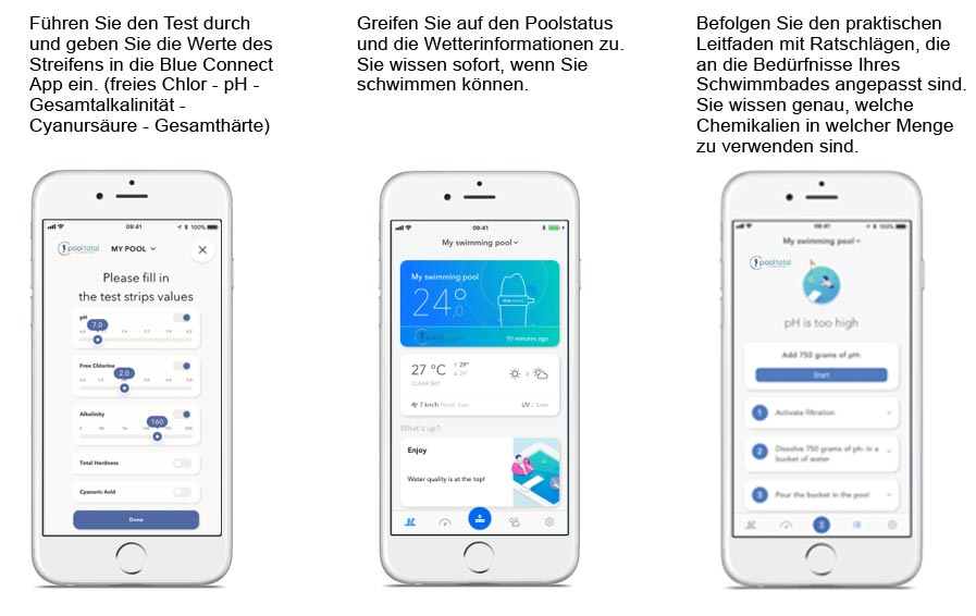 blue check Pool + Spa Teststreifen mit App