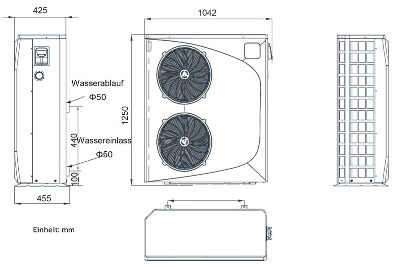 Skizze mit Abmessungen der Hydro-Pro Wärmepumpe P26T/32 bis 85m³