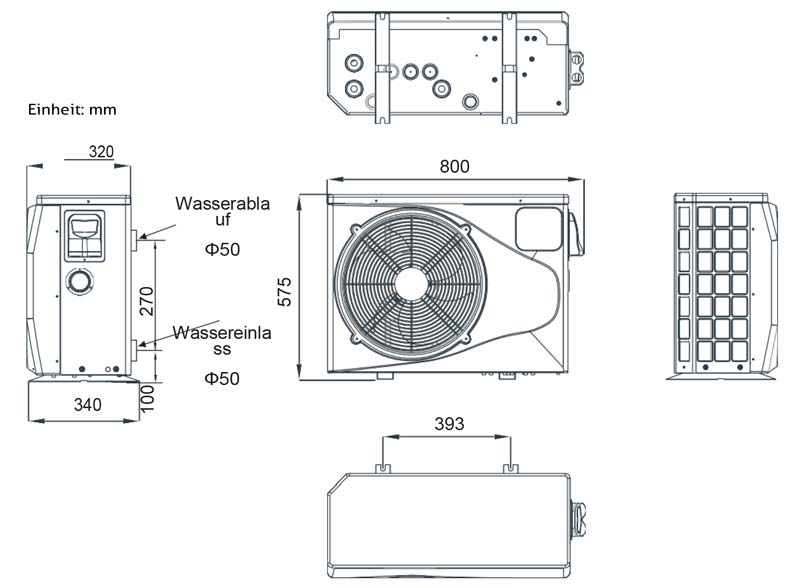 Abmessungen der Bevo Total-Pro Wärmepumpe Typ P6/32