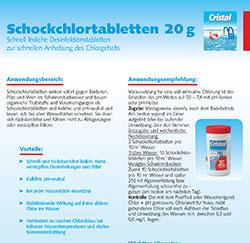 Cristal Schockchlortabletten Hersteller-Infos