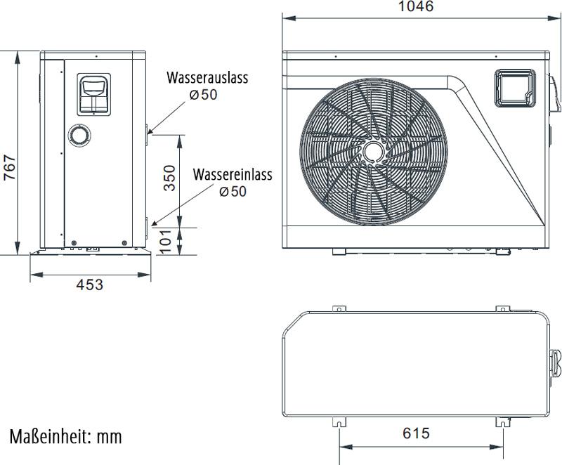 Abmessungen der PROm-i Wi-Fi Inverter Wärmepumpe Typ PIV17/32 44-60m³, Modell 2021