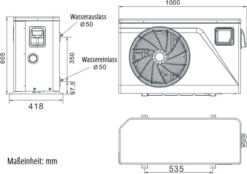 Abmessungen der PROm-i Wi-Fi Inverter Wärmepumpe Typ PIV14/32 40-55m³, Modell 2021