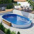 Ovalpool mit blauer Folie - teileingelassen