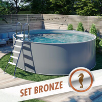 Design-Pool-Set PREMIUM Ø 3,50 x 1,20 m anthrazit, Folie grau
