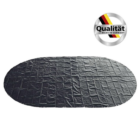 Premium Oval- Achtformbecken Poolabdeckung Made in Germany 200g/m² blau/schwarz