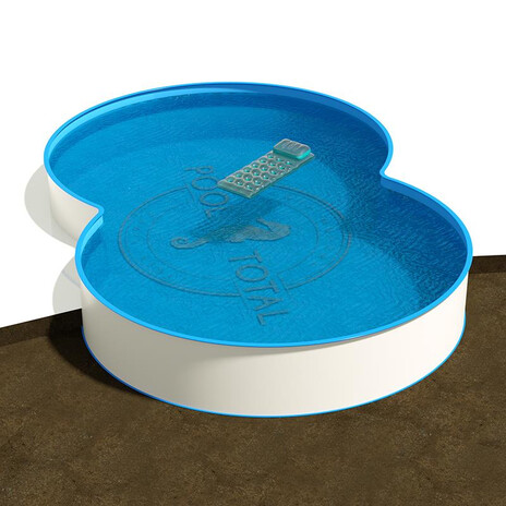 Achtform Pool 3,60 x 6,25 x 1,35 m, Folie 0,8 mm blau + Funktions-Handlauf