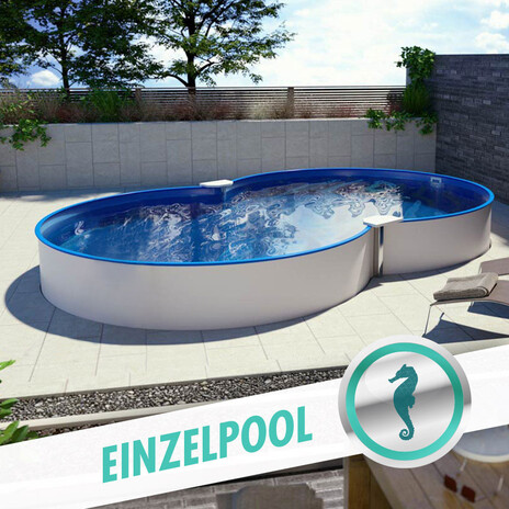 Achtform Pool 4,60 x 7,25 x 1,50 m, Folie 0,8 mm blau + Funktions-Handlauf
